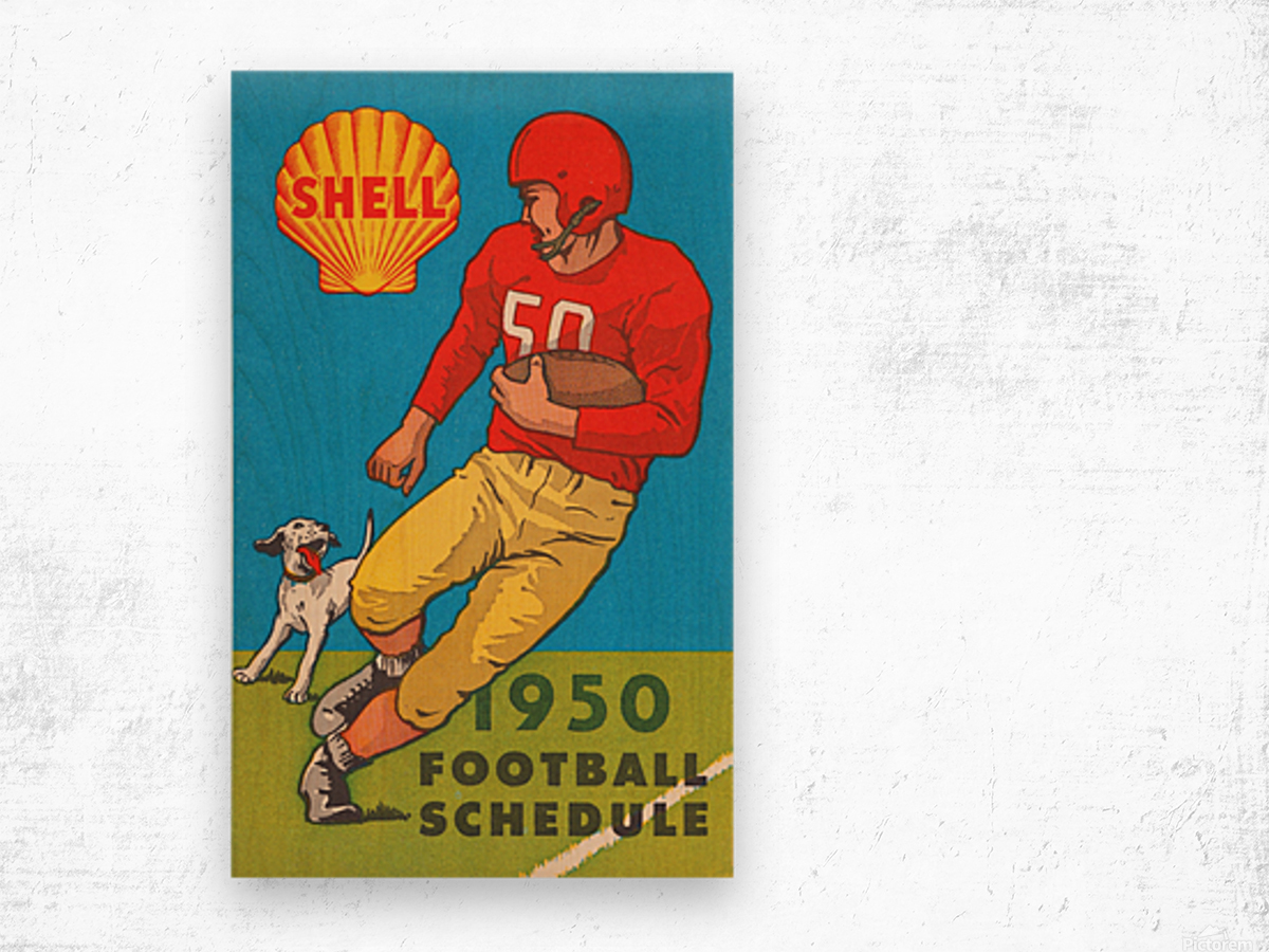 1950 shell oil football schedule poster Wood print