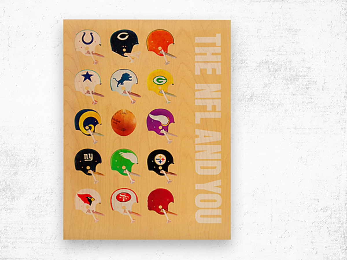 1963 vintage nfl helmets reproduction art Wood print