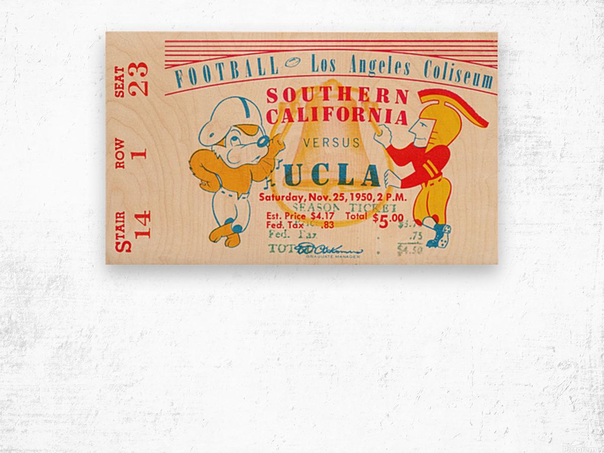 1950 usc ucla los angeles la coliseum college football sports art Wood print
