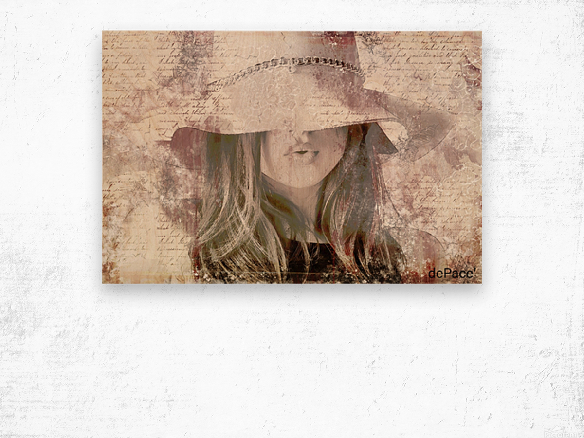 Lovely Girl with Hat on Vintage paper Wood print