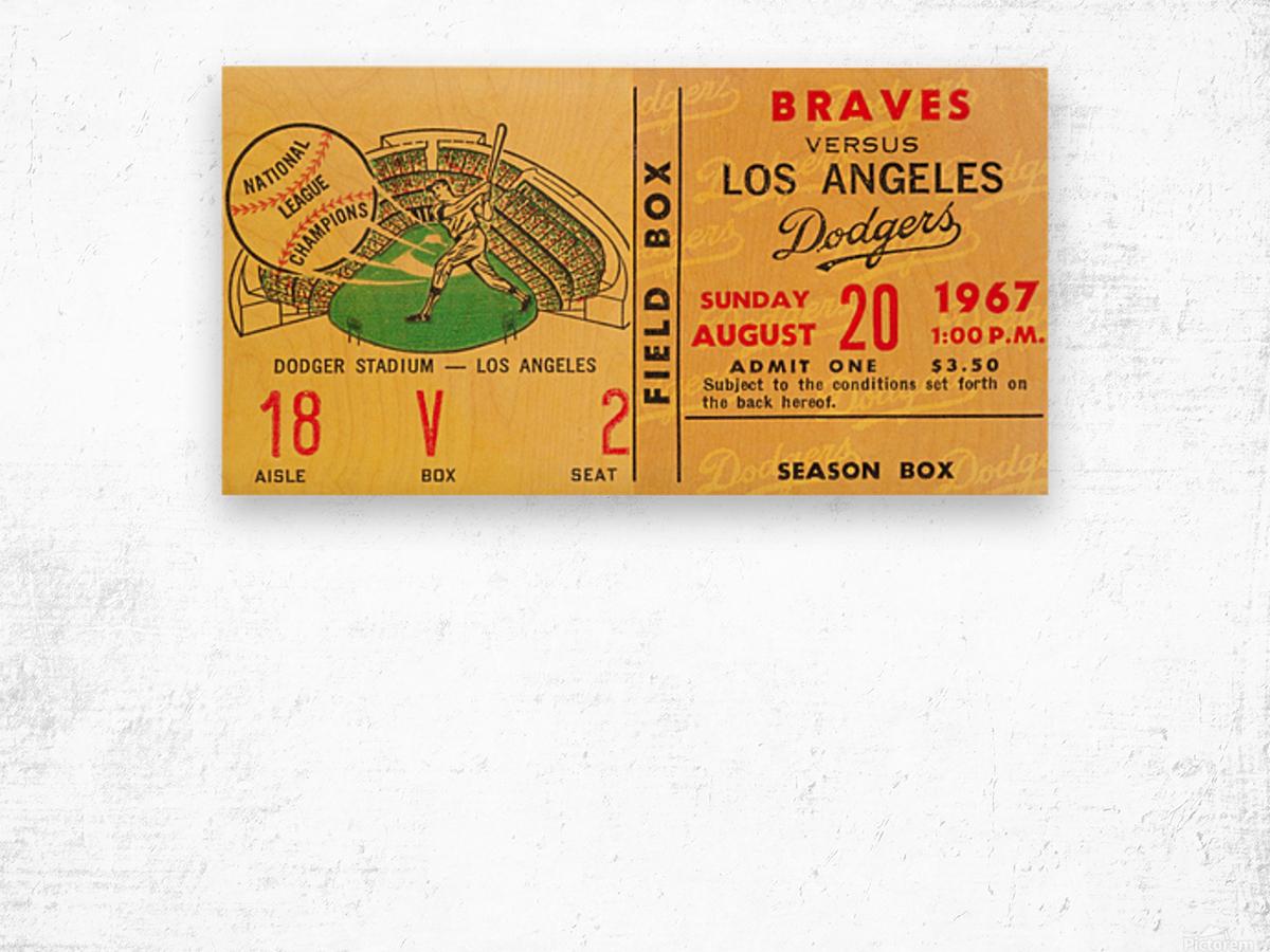 1967 la dodgers atlanta braves baseball sports ticket art  Wood print