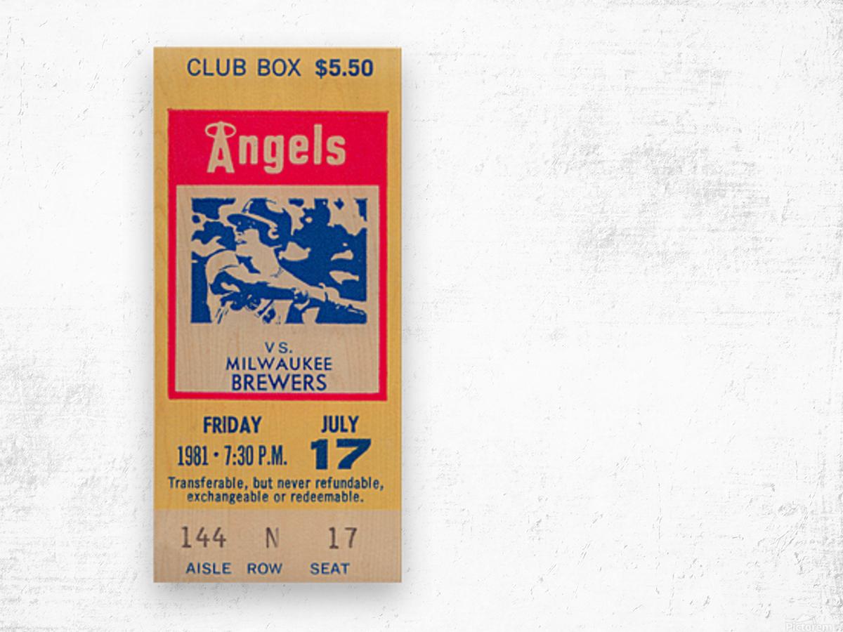 1981 california angels baseball ticket stub sports wall art Wood print