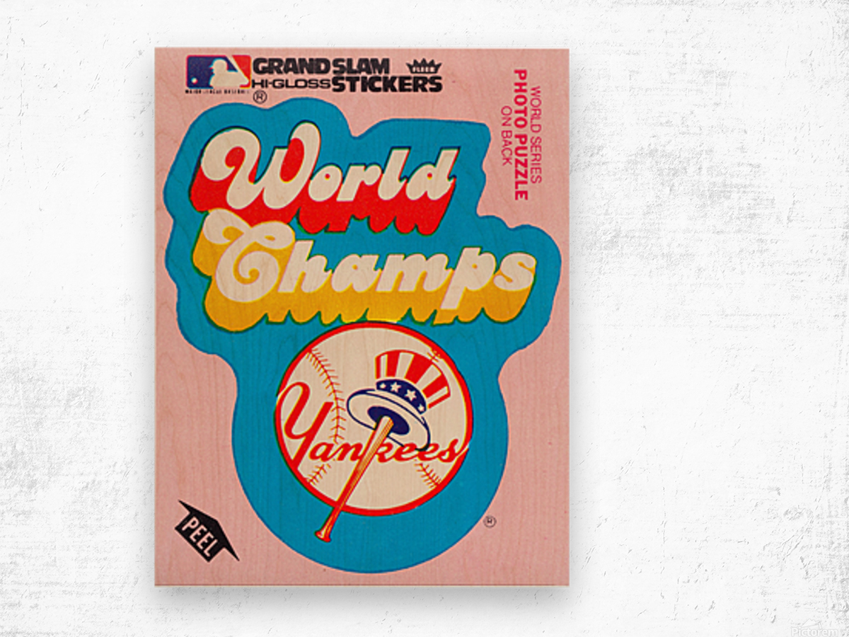 1979 fleer sticker new york yankees world champs poster Wood print