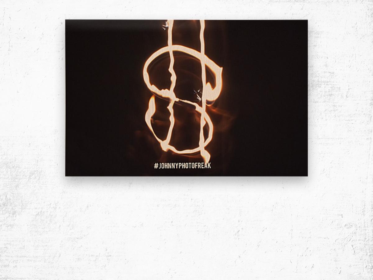 Money light painting fire Wood print