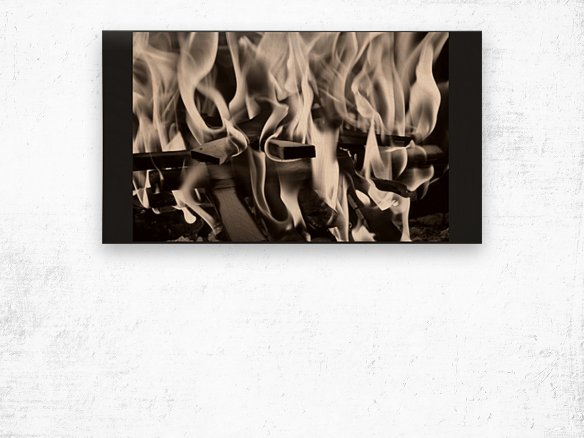 Black and white fire  Wood print