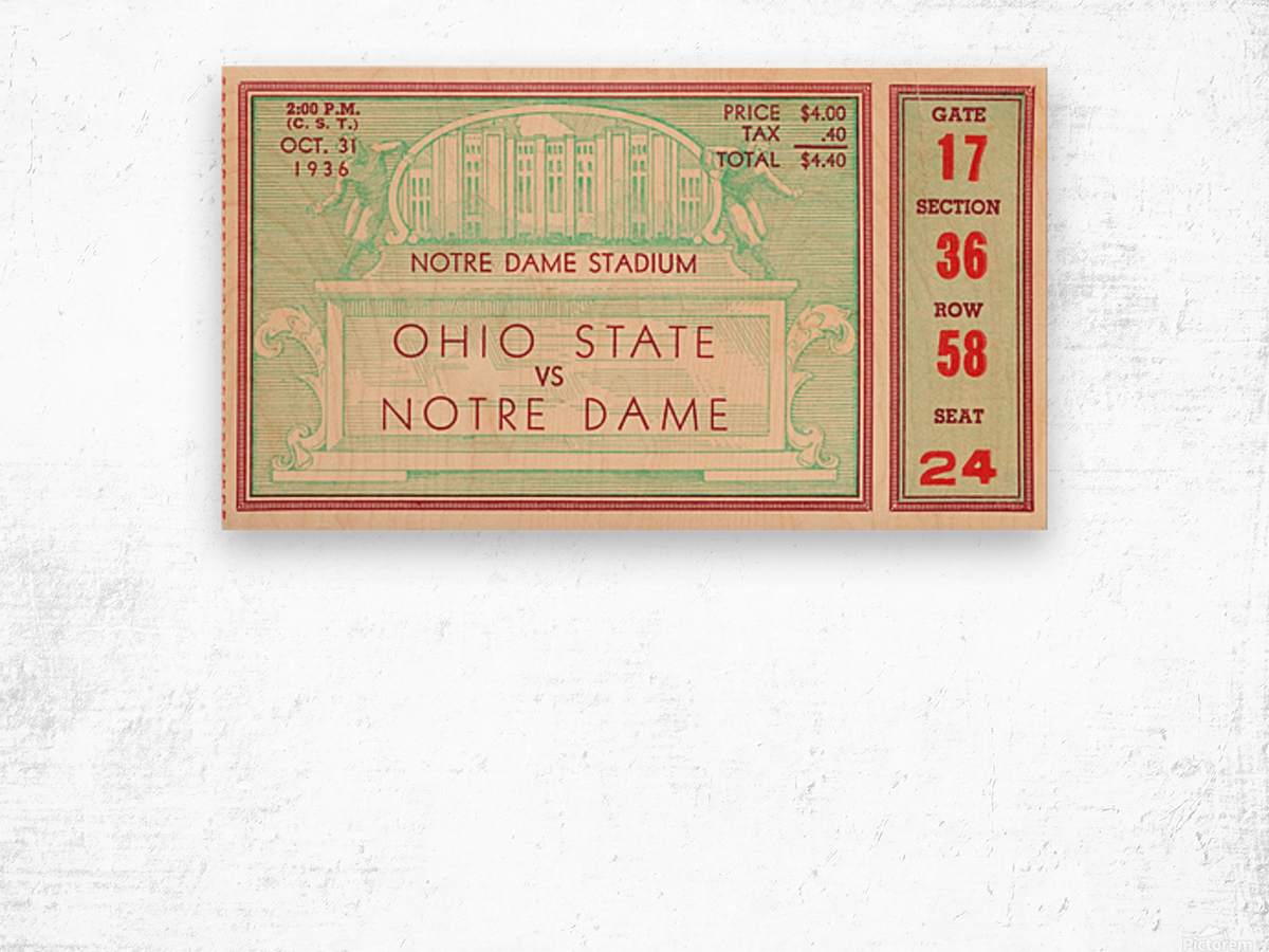 1936 notre dame ohio state football ticket stub sports art Wood print