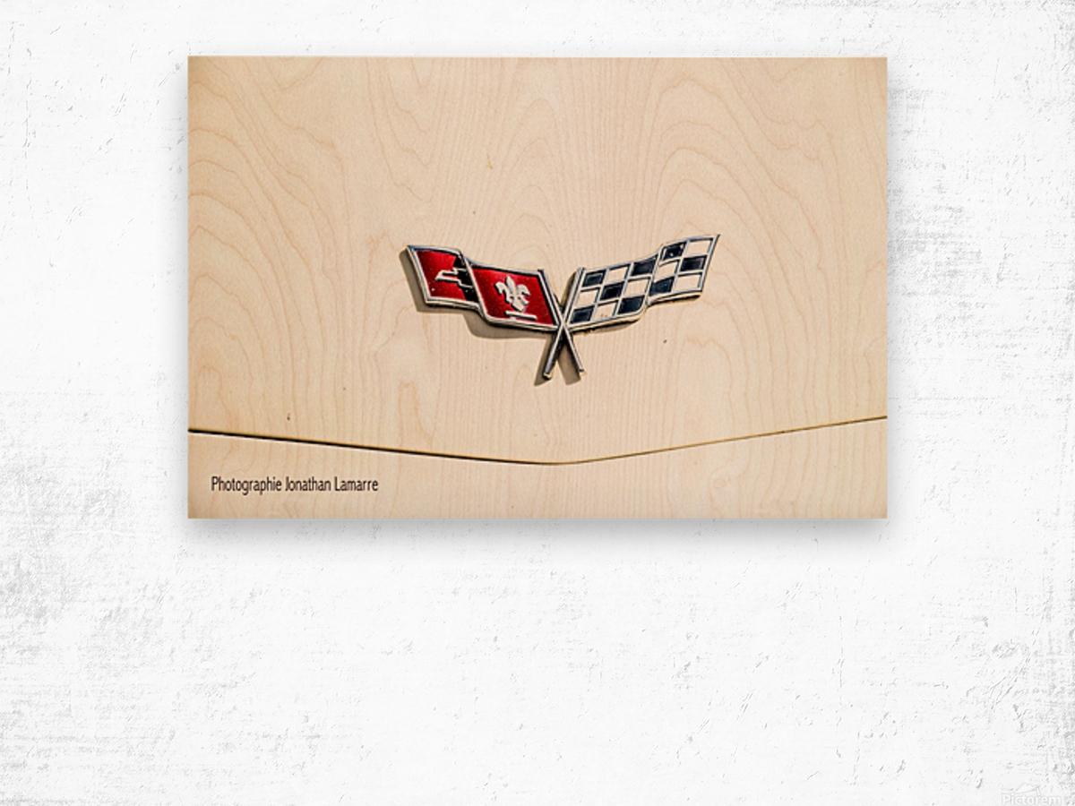 Corvette logo antique car  Wood print