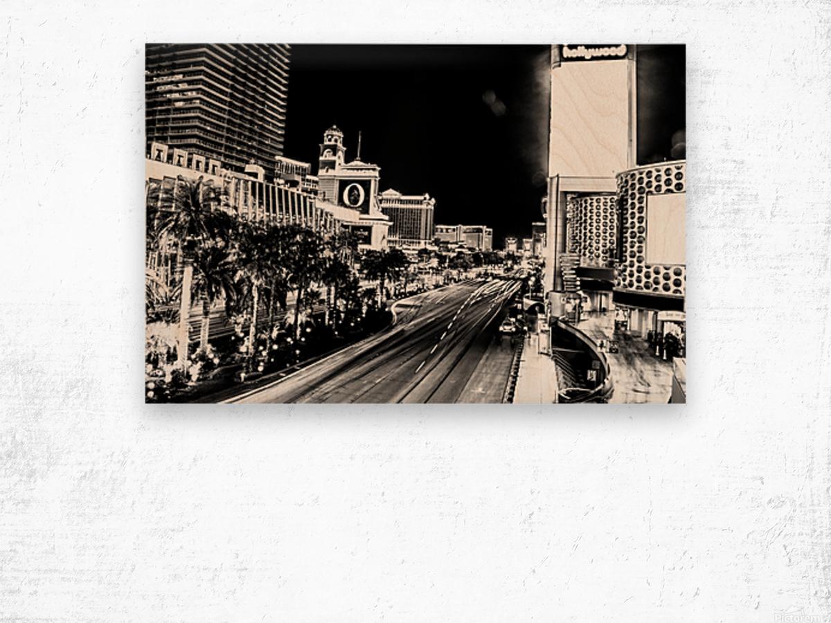 Las Vegas Night Shot B&W Wood print