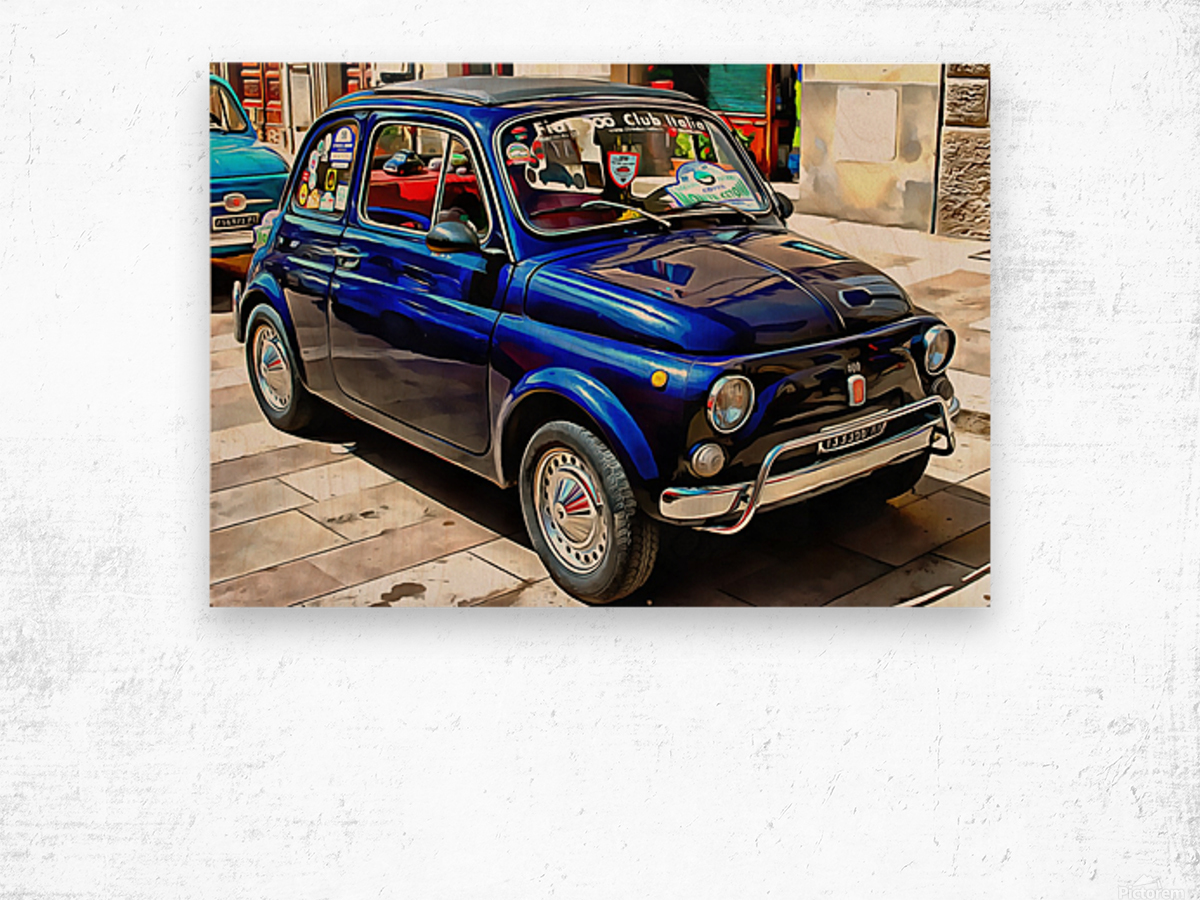 Fiat 500 Dark Blue Version Wood print