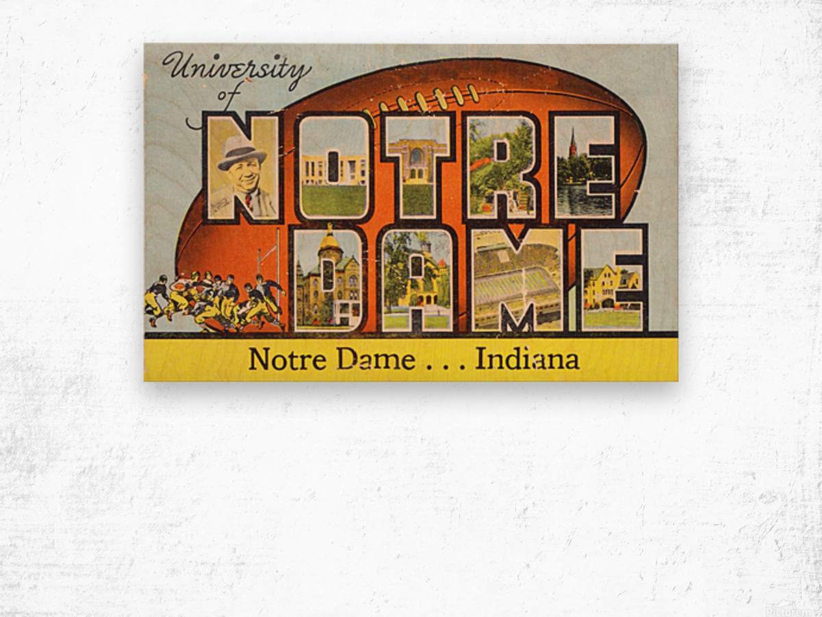 1954 notre dame football south bend art Wood print