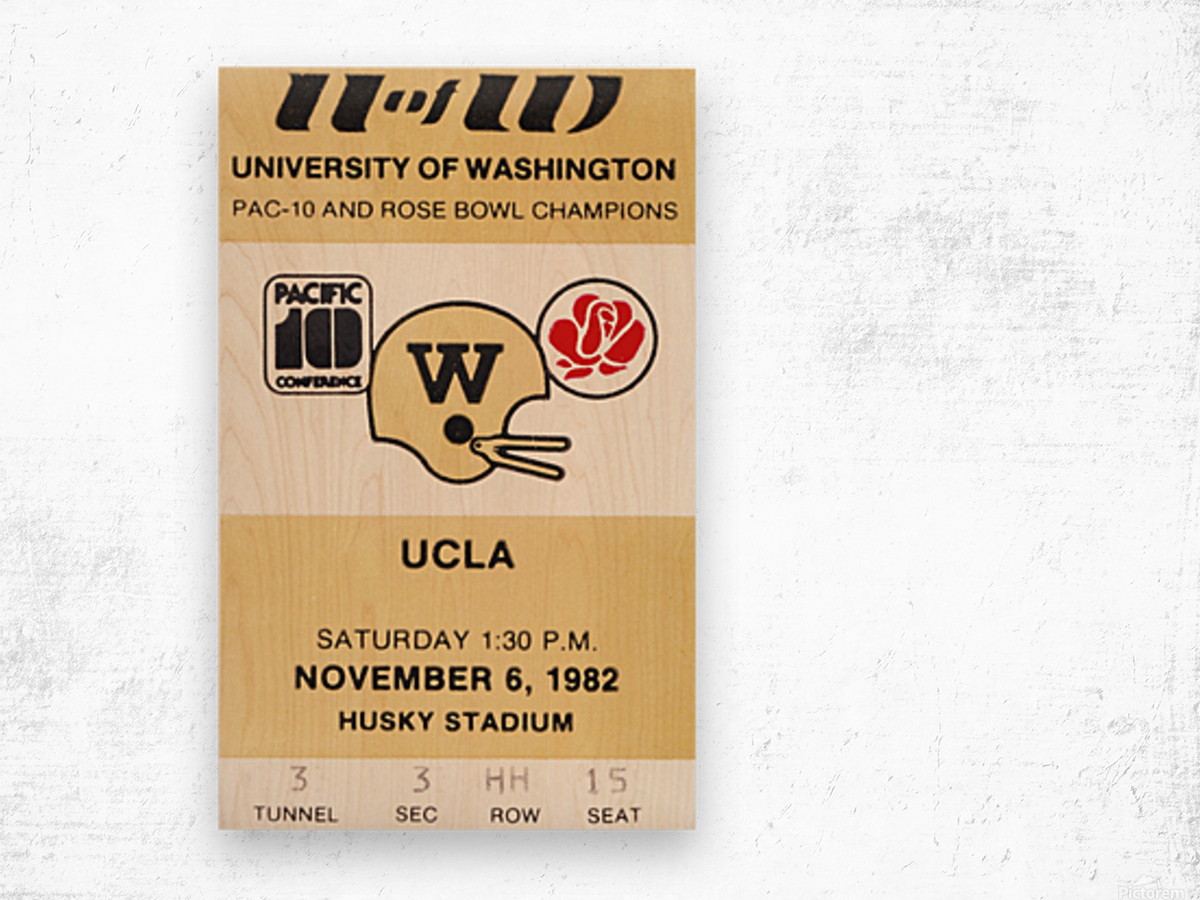 1982 uw huskies washington ucla football ticket stub canvas husky stadium seattle ticket Wood print