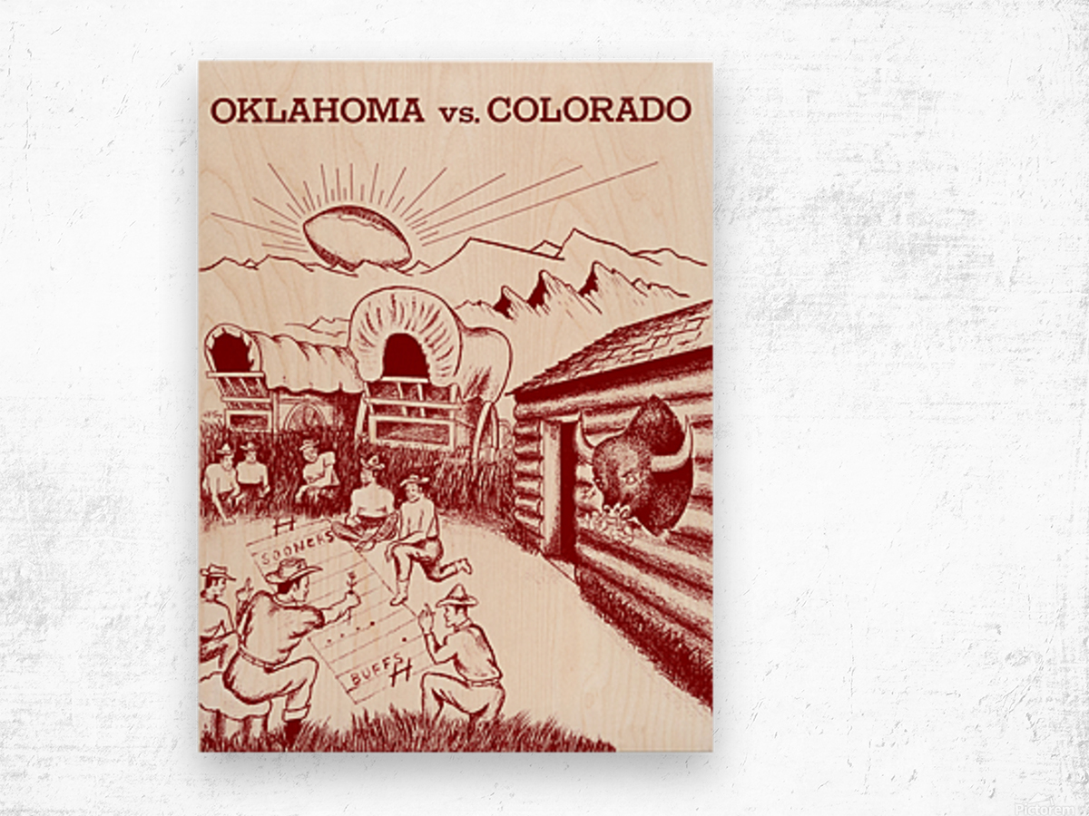 1954 oklahoma sooners colorado buffaloes football program canvas artwork Wood print