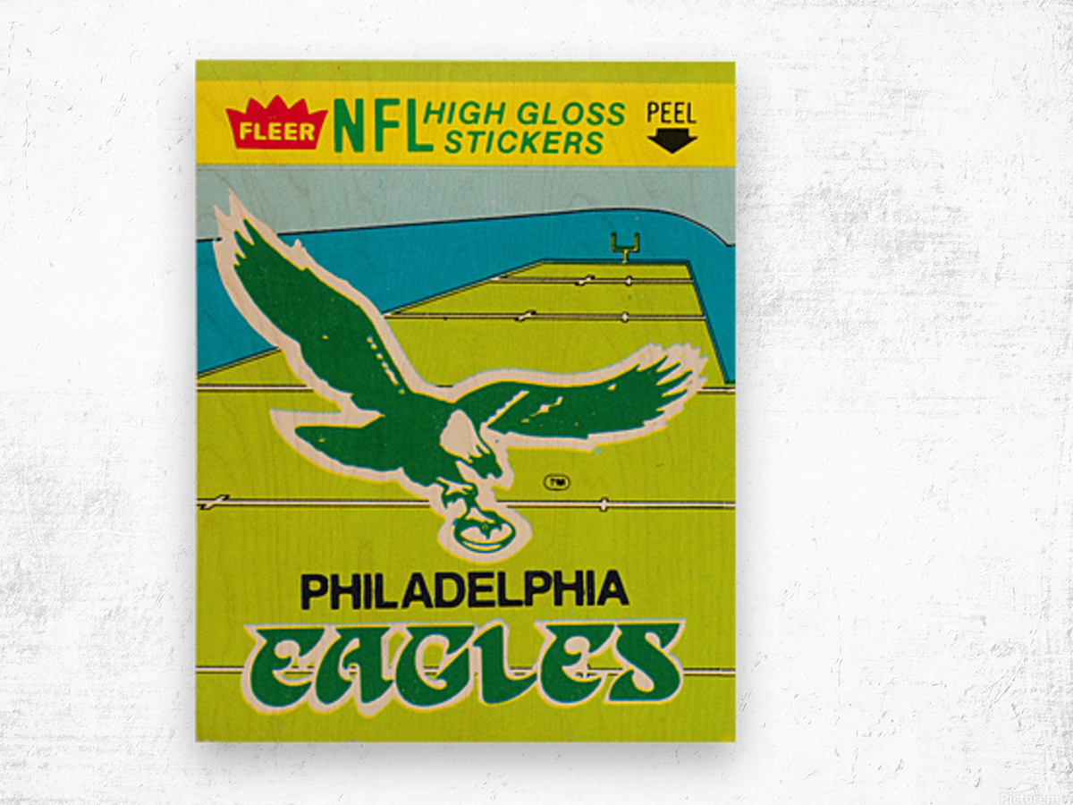 1981 fleer nfl high gloss stickers philadelphia eagles wall art Wood print