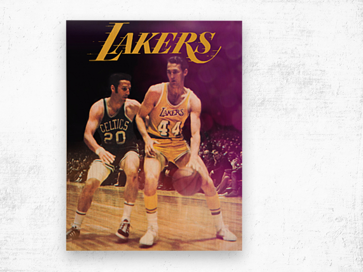 1969 los angeles la lakers jerry west poster Wood print