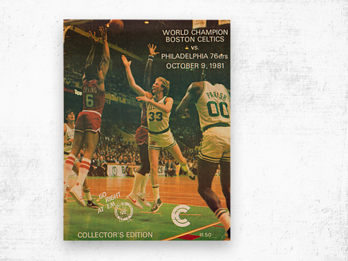 1981 boston celtics philadelphia 76ers larry bird art Wood print