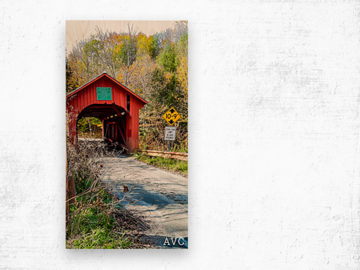 Slaughterhouse Bridge Northfield VT-- Autumn Wood print