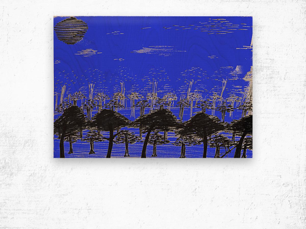 Trees vs sun blue Wood print