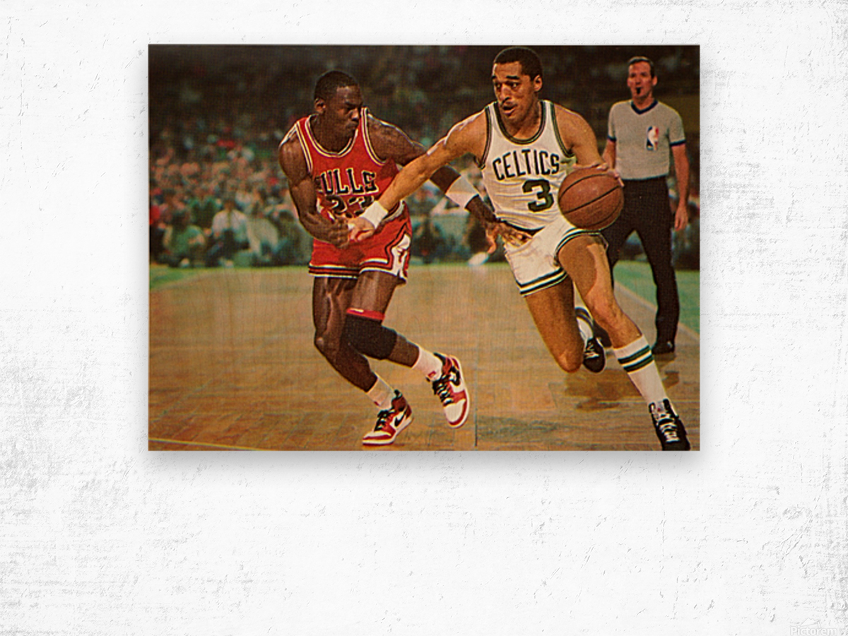 1985 Dennis Johnson vs. Michael Jordan Wood print