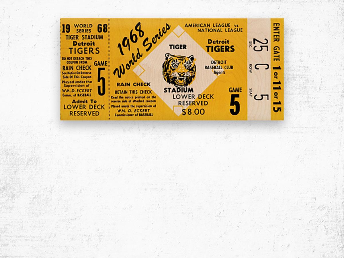 1968 Detroit Tigers World Series Ticket Art Wood print