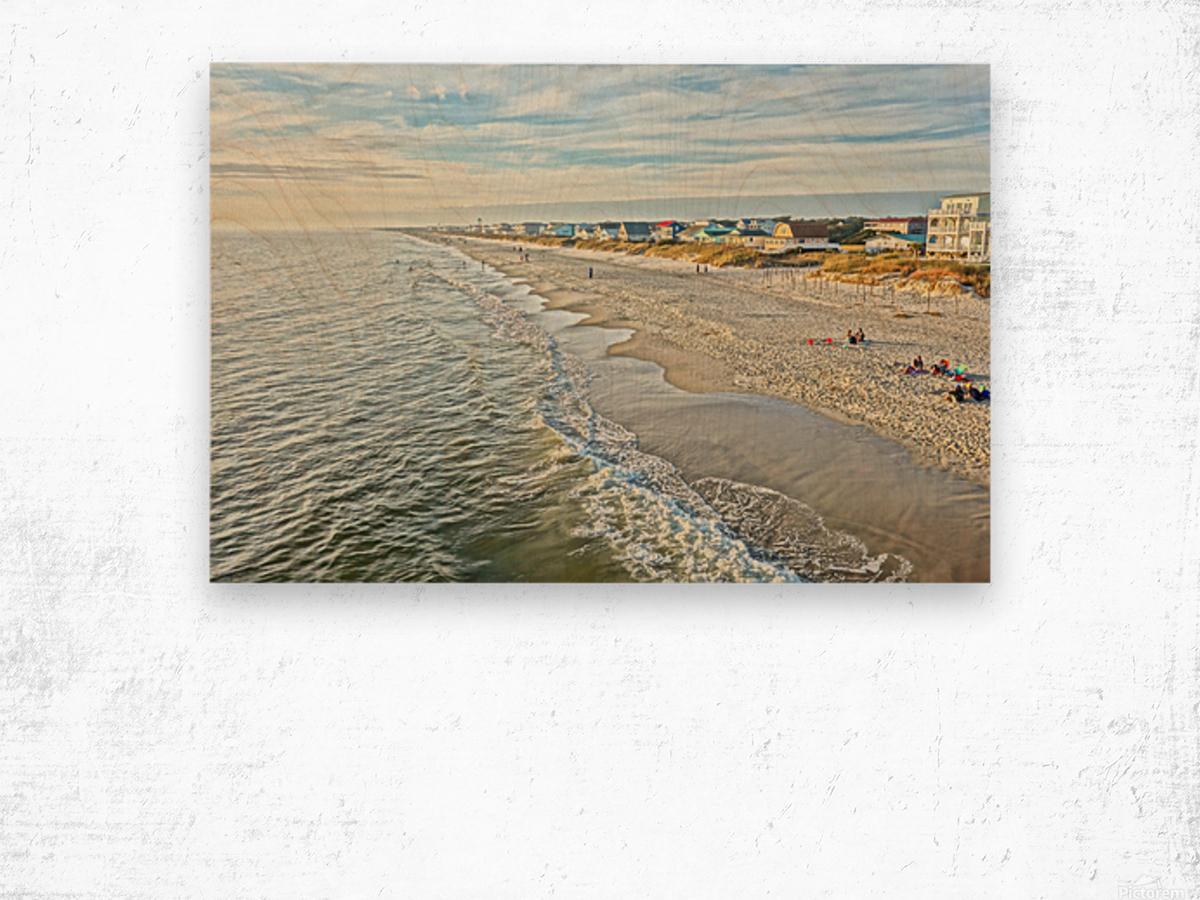 Oak Island Pier View2  Wood print