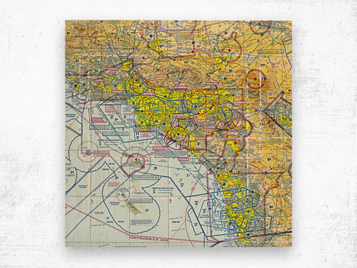 LA & San Diego Aeronautical Wall Art Wood print