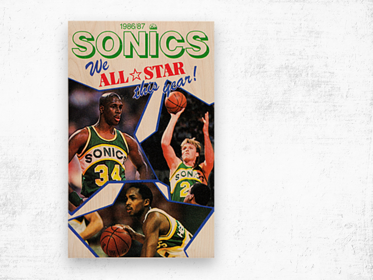 1987 seattle supersonics nba all star game poster Wood print