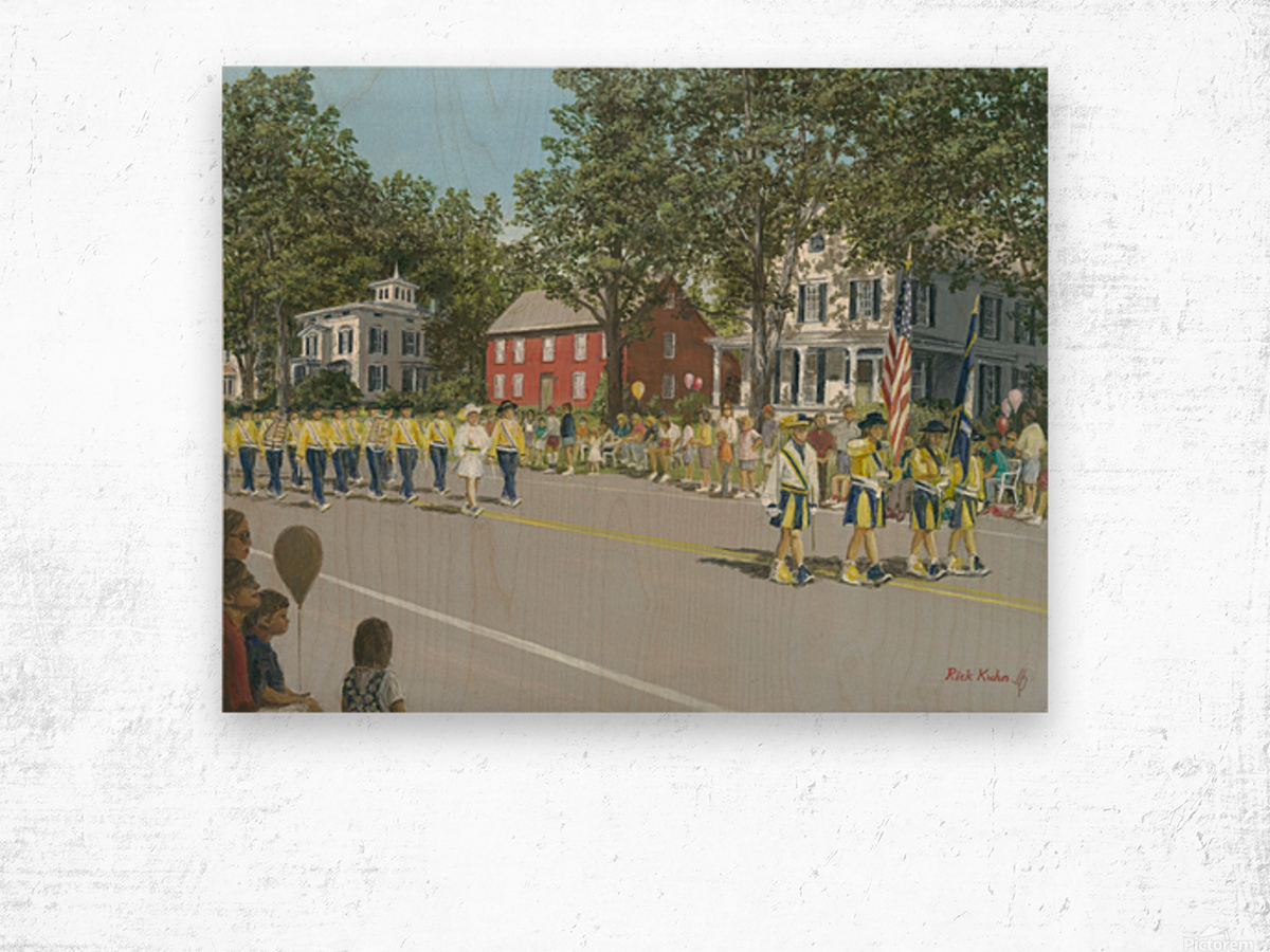 Labor Day Parade - Newtown Series 14X18 Wood print