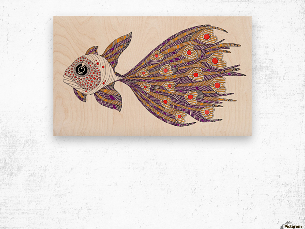 heart fish Wood print