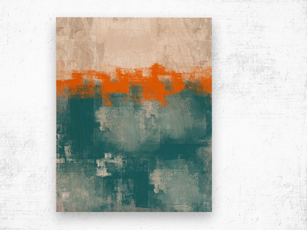 Blue Gray Orange Abstract DAP 20014 Wood print