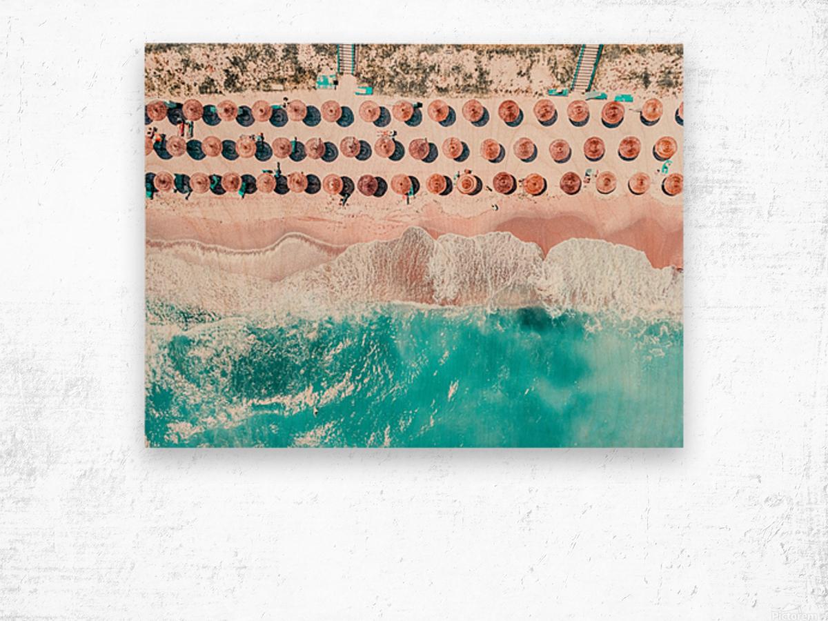 Aerial Ocean Print Beach Print Aerial Beach Print Round Umbrellas Beach Photography Sea Art Print Wood print
