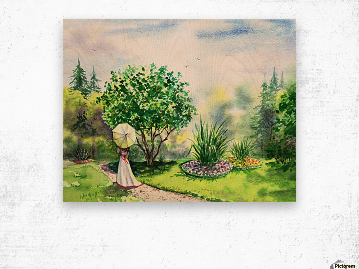 Strolling In The Garden Wood print