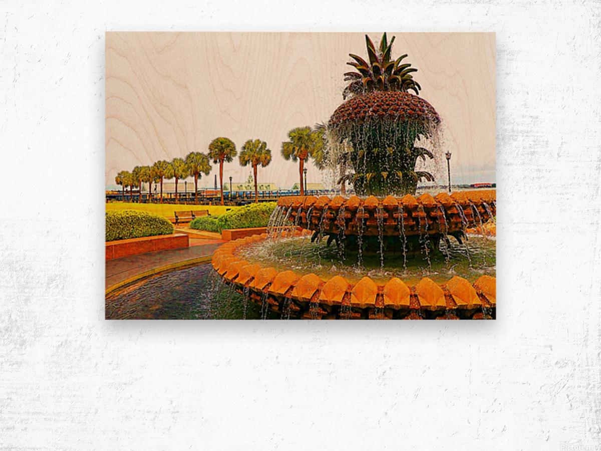 Pineapple Fountain - Charleston SC Wood print