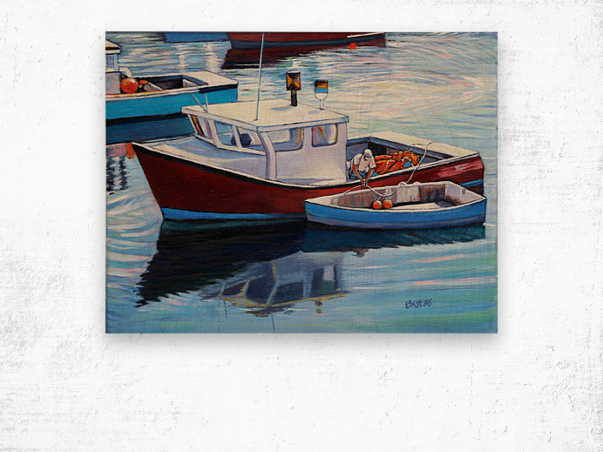 Tying Up Dinghy in Rockport MS Wood print