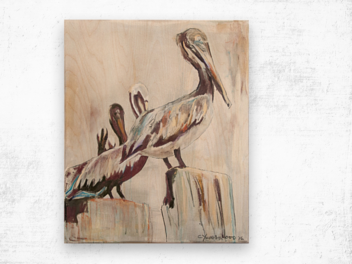 Louisiana Pelicans in the Fog with Metallic Silver Wood print