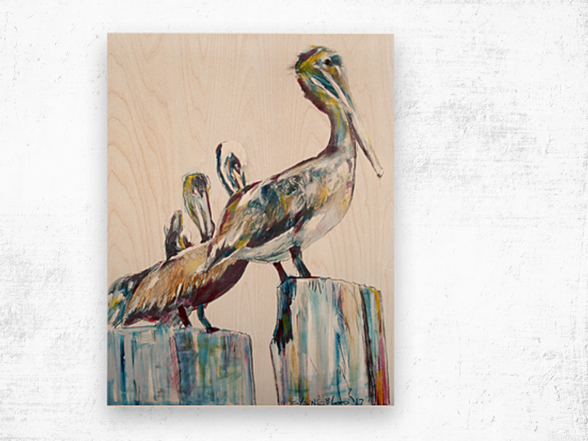 Bold Louisiana Pelicans in the Fog Wood print