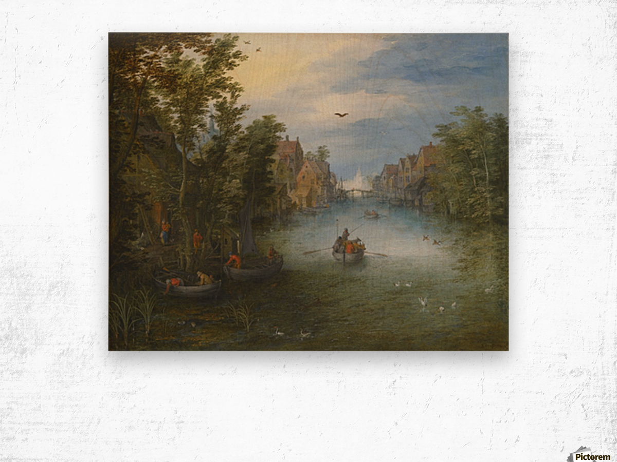 Boats by the river Wood print