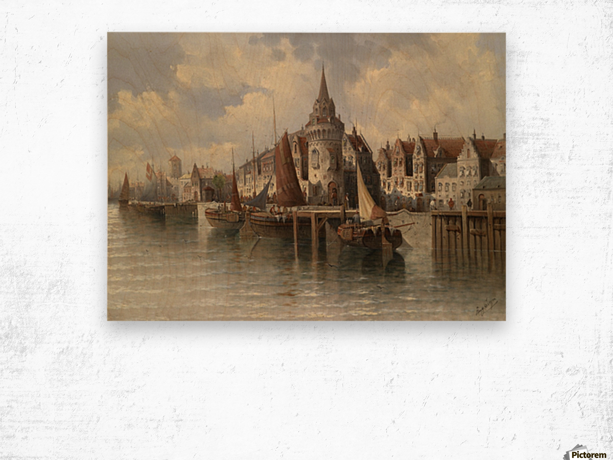 Blick auf eine Hafenstadt Wood print