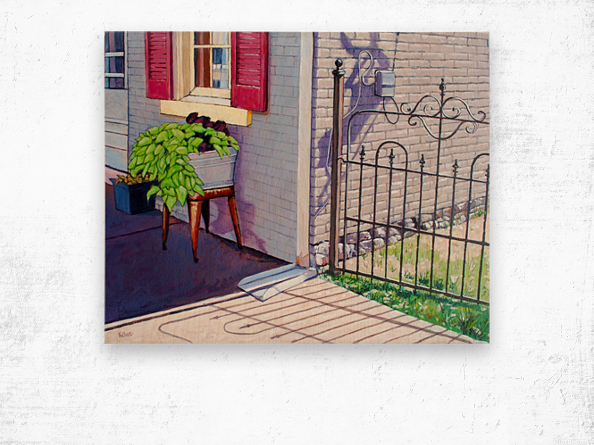 Red Shutters Wood print