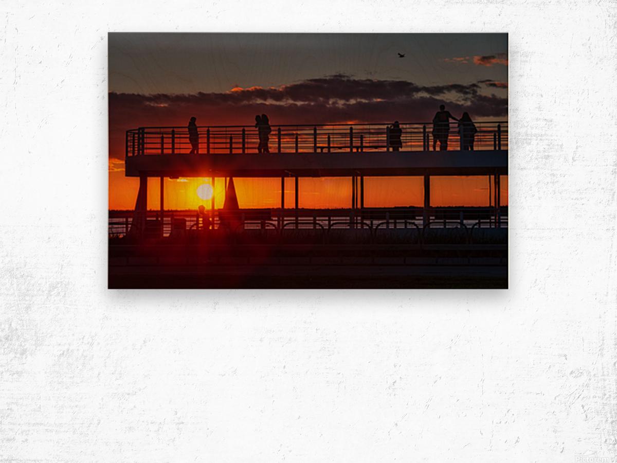 Coucher de  soleil sur Rimouski Impression sur bois