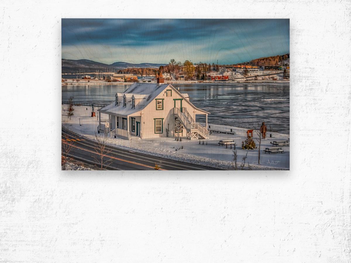 Premiere neige sur Gaspe Wood print