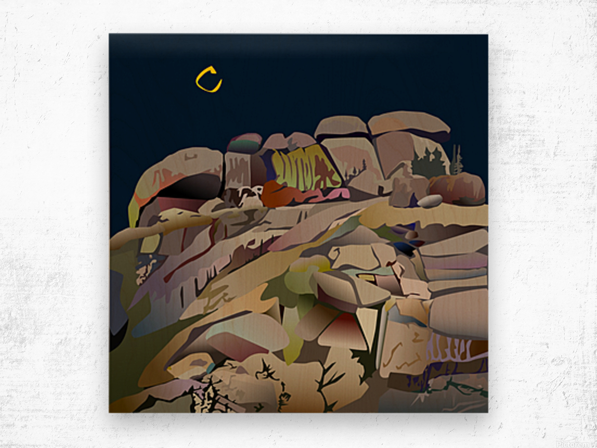 Vedauwoo at Night Wood print