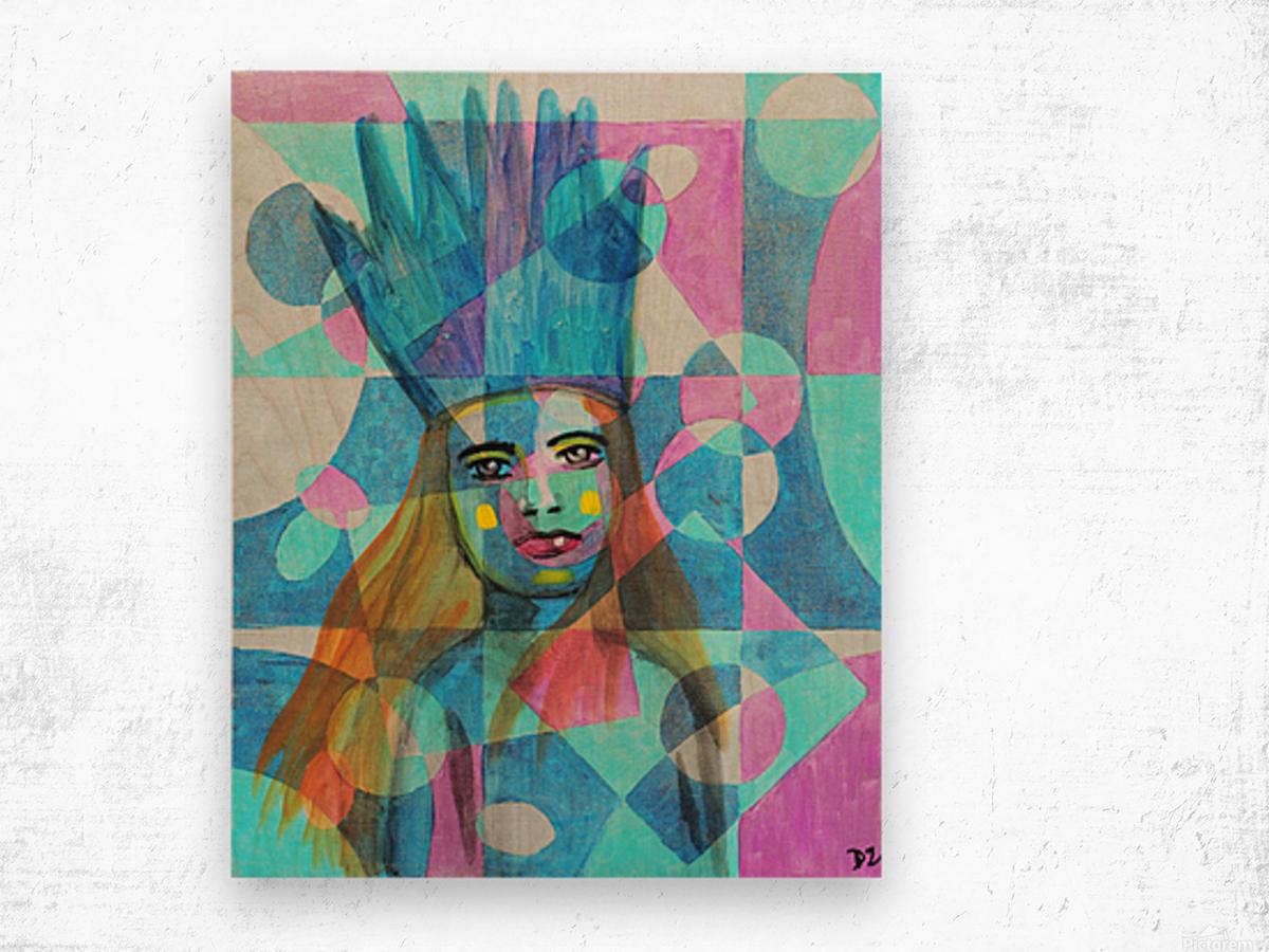 Woman in blue-5 Wood print