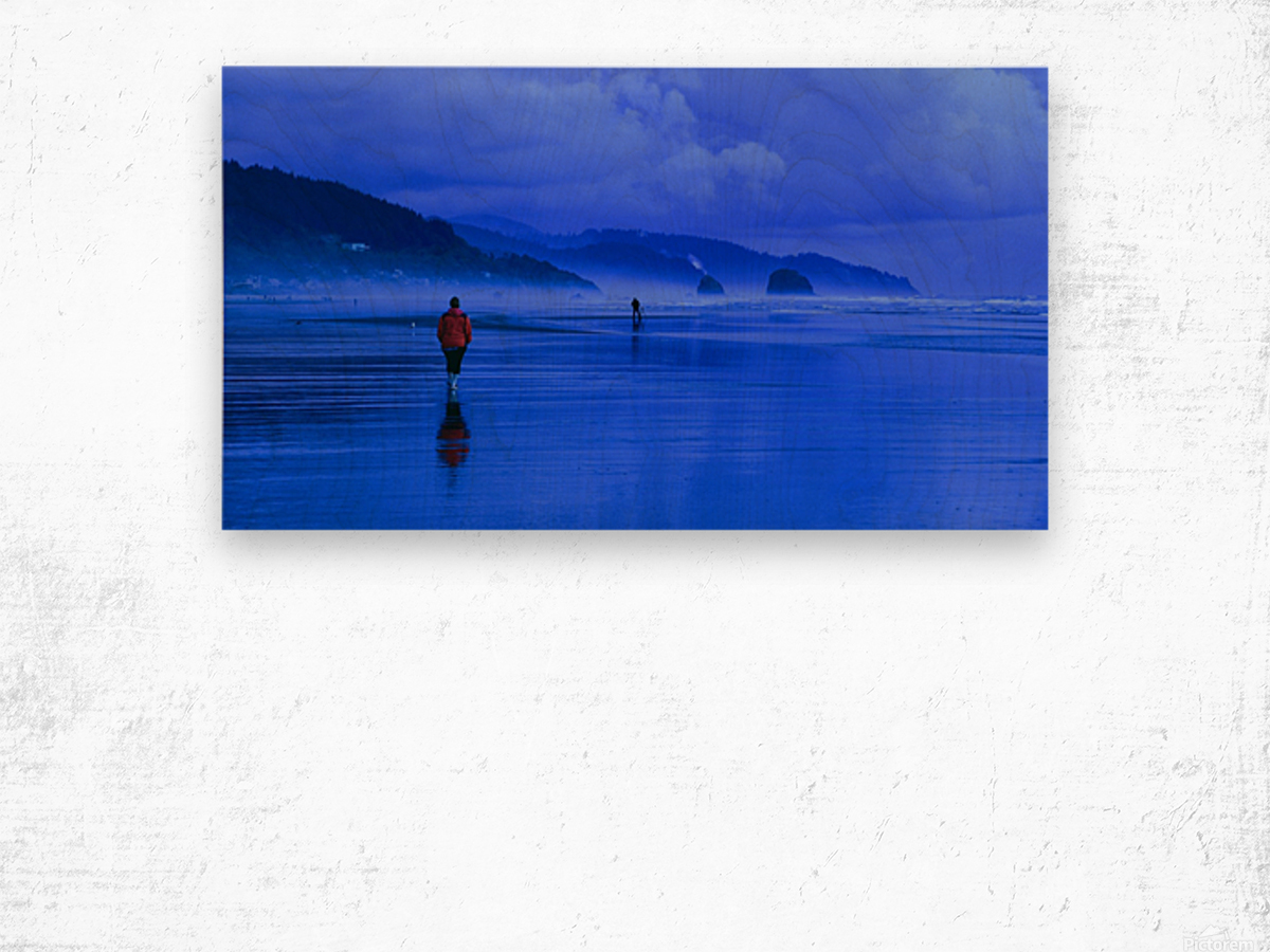 Woman in Red on Blue Beach Wood print