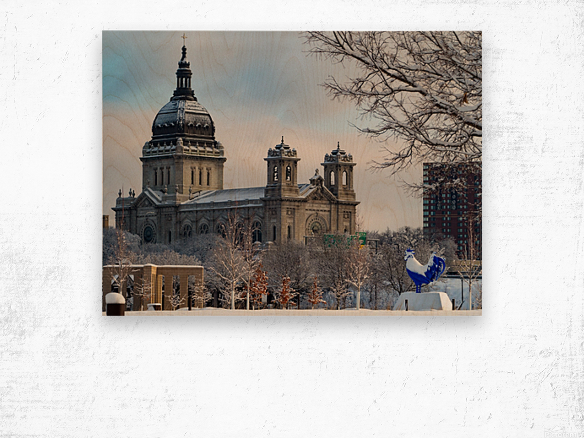 Basilica and Blue Rooster  Wood print