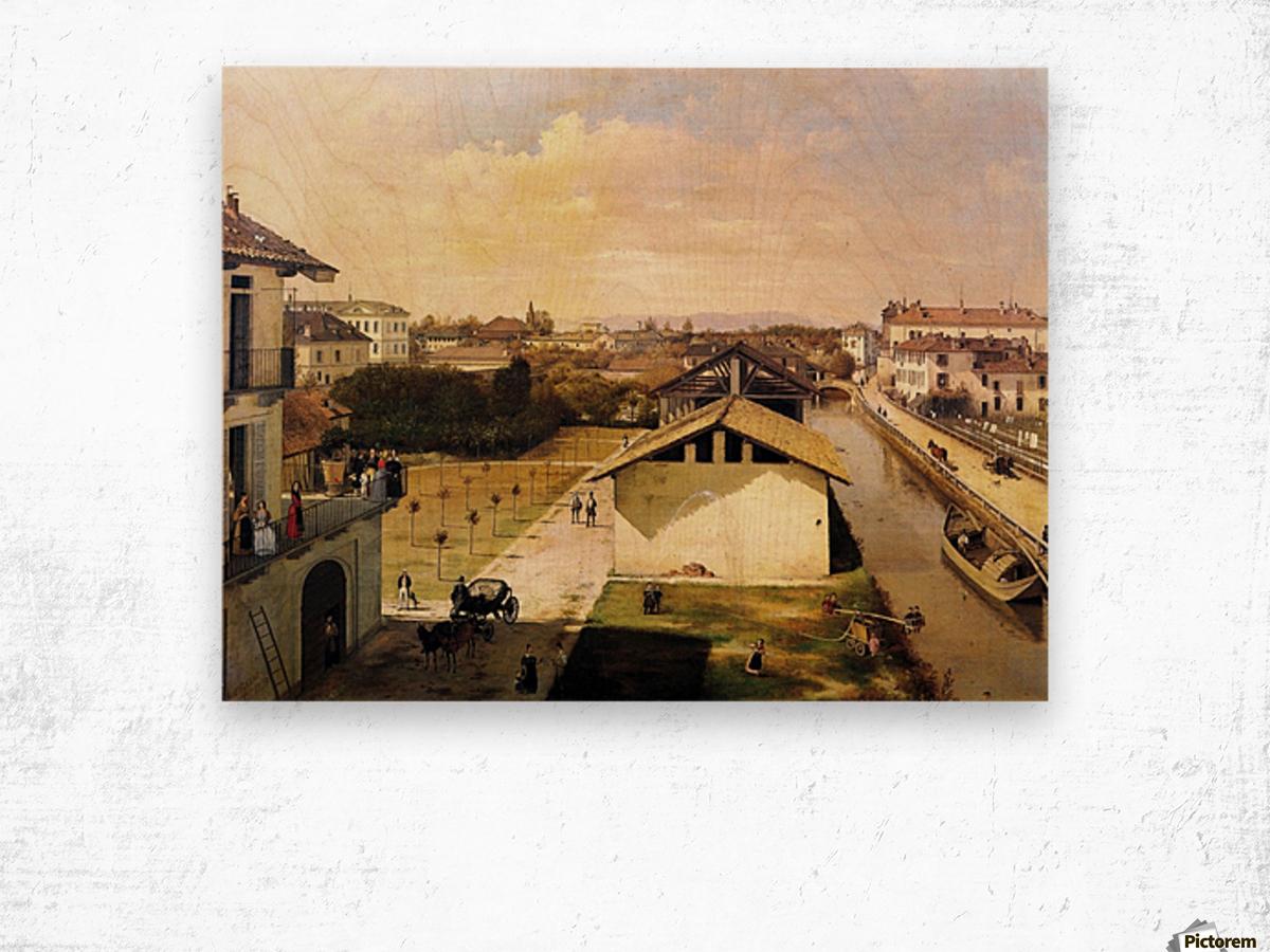 Veduta del Naviglio di San Marco dalla terrazza di Ca Medici, Milano, 1837 Wood print