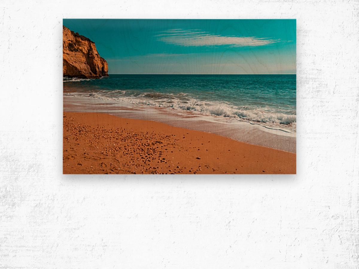 Ocean Beach in Teal and Orange Wood print