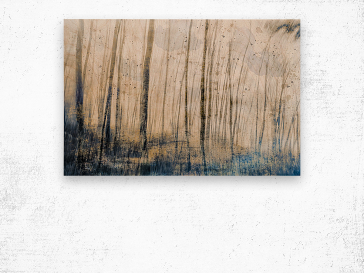 Tree Dreams in Blue Wood print
