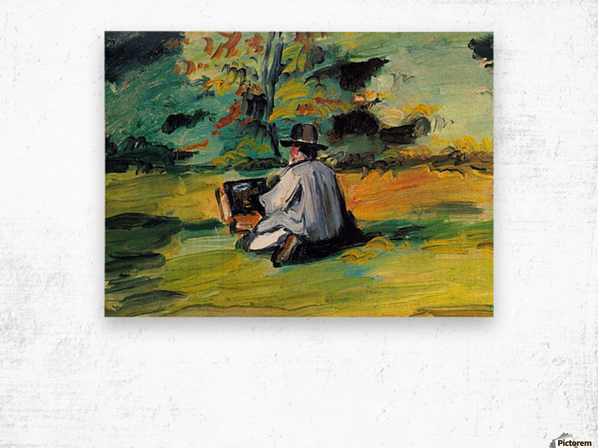 Painter at Work by Cezanne Wood print