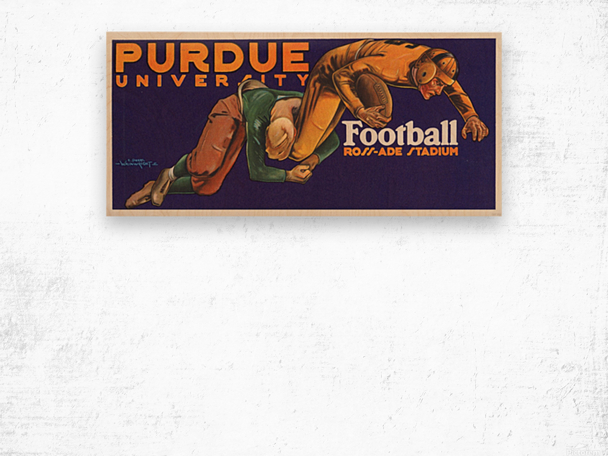 1929 purdue football art Wood print
