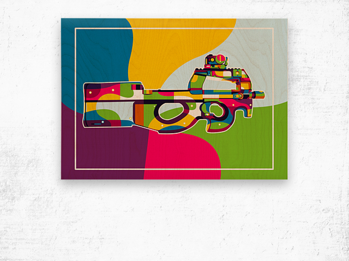 FN P90 Pop Art Wood print